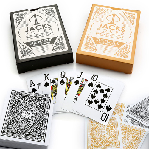 Jacks Poker Plastic Playing Cards Black/Gold
